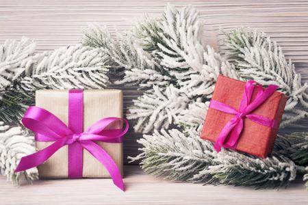 Gift boxes over Xmas background Stock Photo