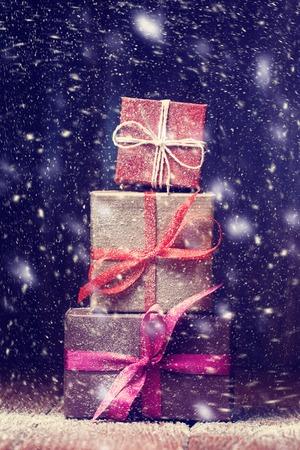snowbound: Pile of snowbound gift boxes Stock Photo