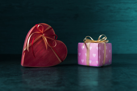 Two gift two boxes on Valentines day