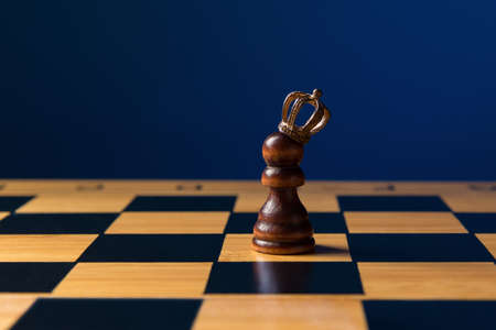 Pawn in crown on chess board over blue background with copy space. Personal Growth And Development concept