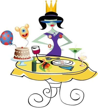 Beautiful girl celebrates birthday at the holiday table Vector
