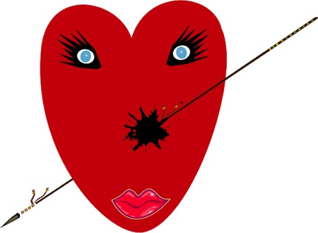 heartache: Wounded love heart illustration