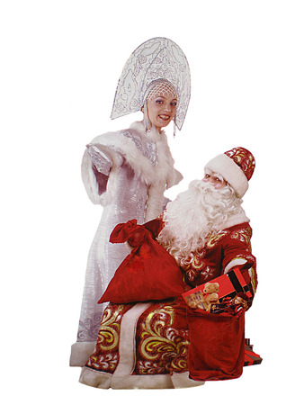 'snow maiden': Santa Claus and Snow Maiden on the white background