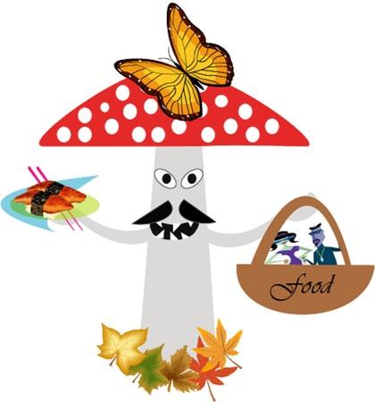 stipe: Amanita mushroom gathering of people in the food basket