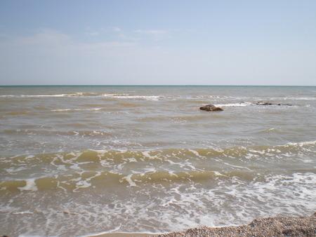 azov sea: Waves on the Azov sea Stock Photo