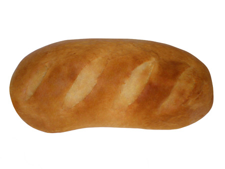 long loaf: Ruddy long loaf on a white background