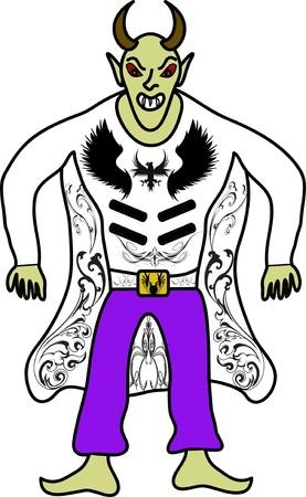 bocinas: Demonio con cuernos en un fondo blanco