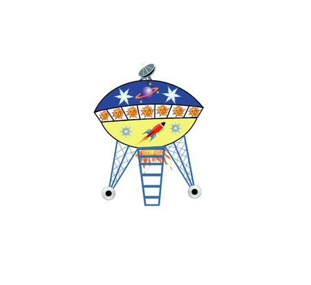 Flying Saucer with ladder