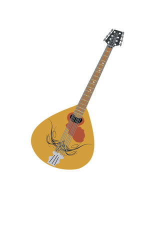 Musical instrument mandolin on white background