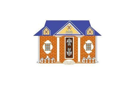 residental: Residential brick house vector illustration. Illustration