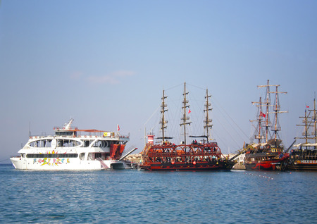 Pleasure ship  Moby Dick with other yachts on the Mediterranean Sea near 155 beach in Kemer, Turkey