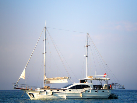 Pleasure yacht in the Mediterranean Sea (view from 155 beaches, Kemer)