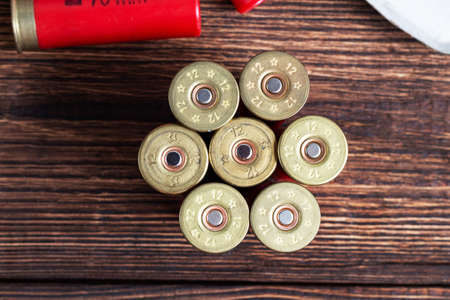 12 gauge caliber color cartridges hunting shells flower shape on a brown wooden background