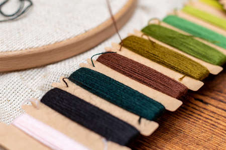 Cross stitching embroidery process. Needle embroidery frame threads. Hobby DIY lifestyle.