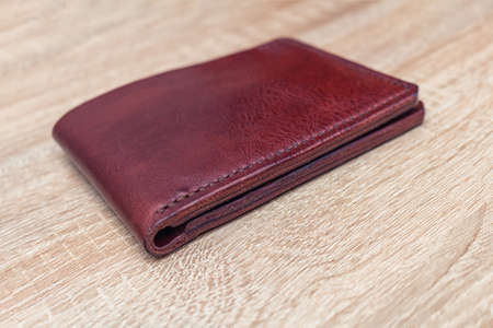Handmade leather bifold natural full-grain leather wallet purse pouch