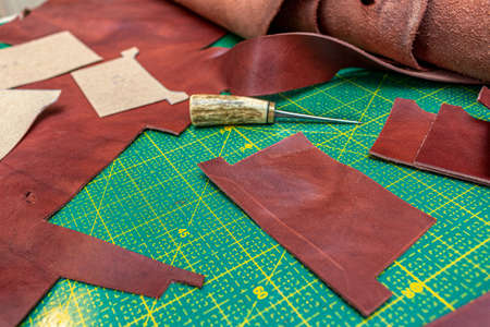 Creating sewing leather handmade wallet leathercraft. Pattern, tools, leather Stock fotó