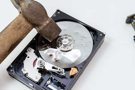 Destruction, deleting of data, information on a hard disk drive with hammer