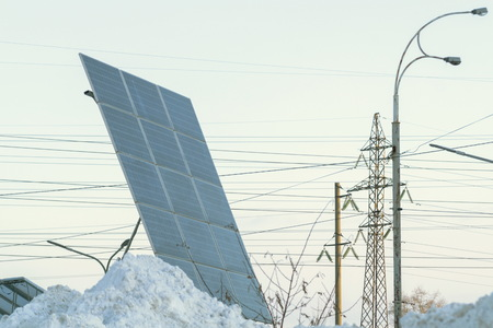 View of photovoltaic in winter covered with snow. Standard-Bild