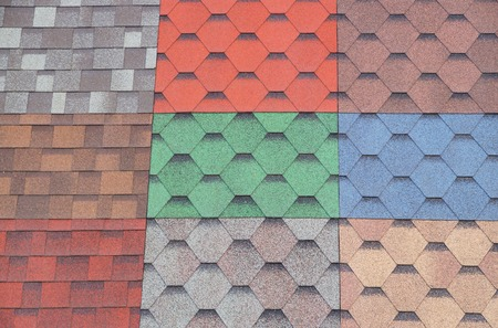 Soft roof, tiles. Different colors of shingles.