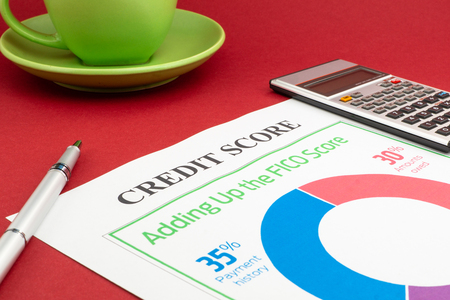 Credit score report with calculator on a red table.