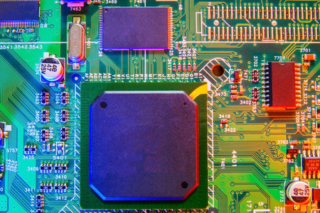 Electronic board design, Motherboard digital chip. Tech science background. Integrated communication processor. Reklamní fotografie