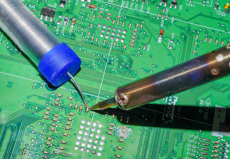Electronics manufacturing services, Motherboard digital chip. Tech science background. Integrated communication processor.