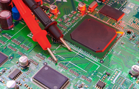 Electronic board design, Motherboard digital chip. Tech science background. Integrated communication processor.