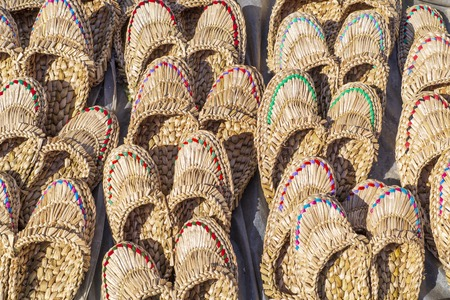 Straw Slippers for sale, for women or men of light colors. Good for foot massage.