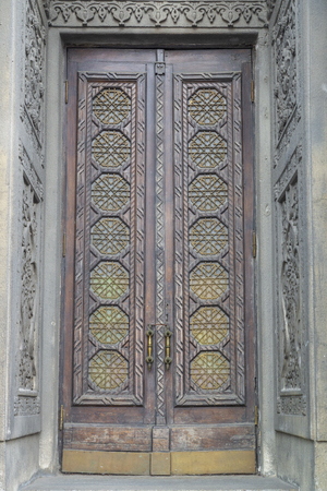Old synagogue in Kiev, Details of ancient decoration of entrance doors. Stock Photo