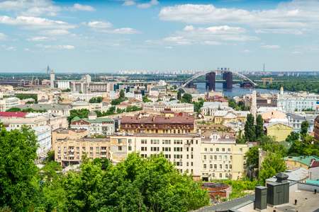 Beautiful panoramic view on old houses and Dnieper river in Kiev, Ukraine. Stock Photo