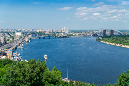 Beautiful panoramic view on Postal Square and Dnieper river in Kiev, Ukraine.