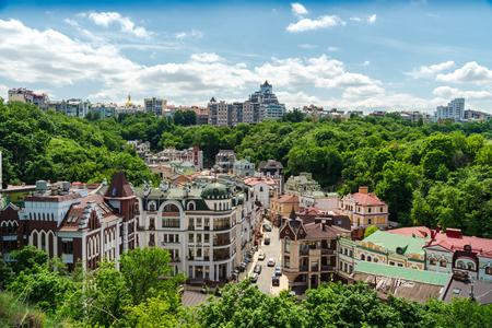 Beautiful view of the city of Kiev, Vozdvizhenka Podolsk district, Ukraine.