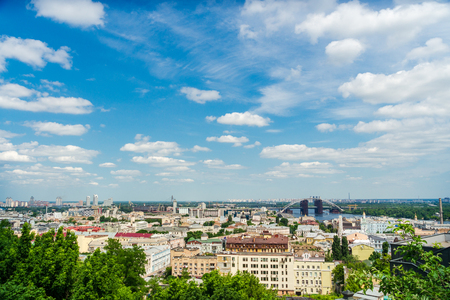Beautiful panoramic view on old houses and Dnieper river in Kiev, Ukraine. 版權商用圖片