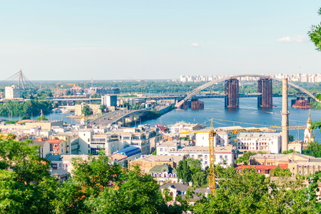 Beautiful panoramic view on old houses and Dnieper river in Kiev, Ukraine. Standard-Bild