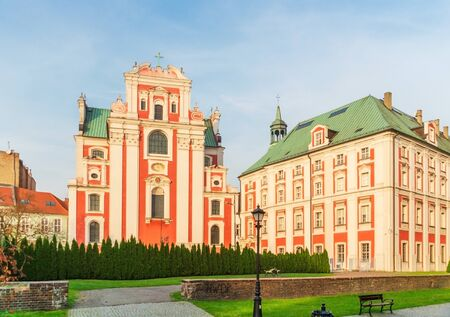 Architecture of the city of Poznan in Poland view of the courtyard of the castle, the Church and the house
