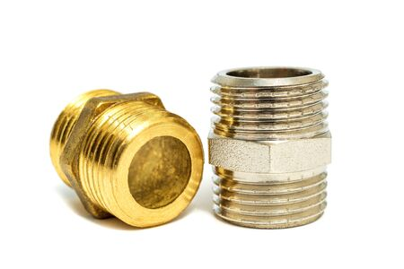 Set of brass fittings is often used for water and gas installations on white background