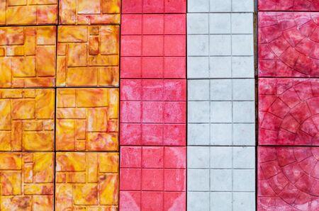 Decorative multi colored tile for the sidewalk square artificial stone Stockfoto