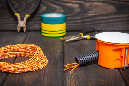 Electrical junction orange box with wires usually used in the electric installation process Reklamní fotografie