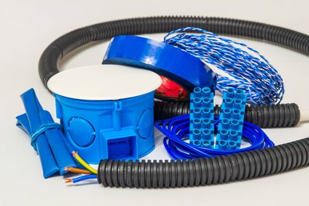Kit spare parts blue color for electrical prepared before repair on gray background