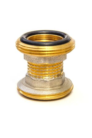 Brass fitting on white background is often used to connect for water and gas installations