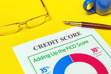 Credit score form on the yellow office desk with glasses and pen, business idea