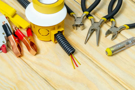 Kit spare parts and tool for electrical prepared before repair or setting, wizard is used for electricians repair Stock Photo
