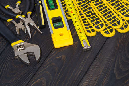 Kit tools for master builder on black boards. Wizard working environment