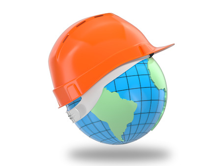 optical people person planet: Earth wearing yellow hard hat environment or asteroid threat protection on white.
