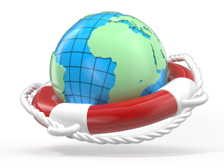 life belt: Life Belt with Globe World on White Background - High Quality 3D Render