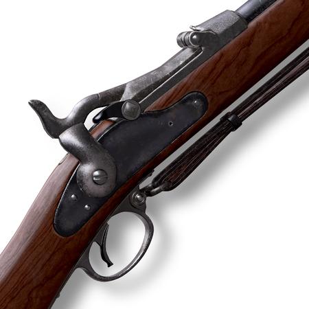 period costume: Musket Springfield Trapdoor Rifle Stock Photo