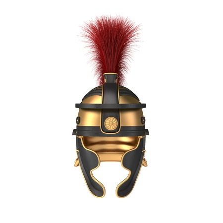 roman empire: Isolated illustration of a Roman Helmet with a scarlet plume