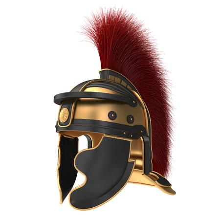 주홍 깃털을 가진 로마 헬멧의 고립 된 그림