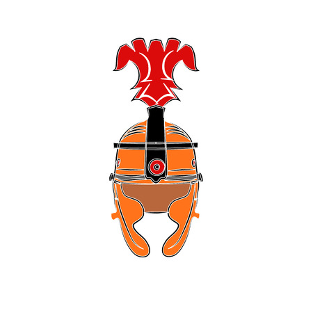 Isolated illustration of a Roman Helmet with a scarlet plume