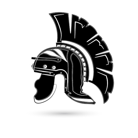 Antiques Roman or Greek helmet for head protection soldiers with a crest of feathers or horsehair with slits for the eyes and mouth, vector illustration